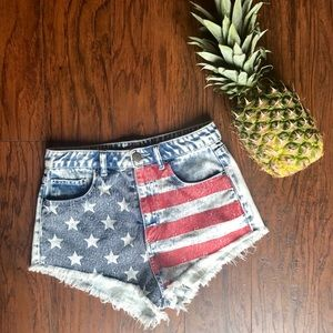 H&M July 4th American flag jean shorts size 4